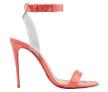 Jonatina 100 Pvc-trimmed Patent-leather Sandals Peach