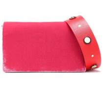 Studded Two-tone Velvet Shoulder Bag Fuchsia Size --