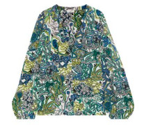 Woman Adara Printed Silk-crepe Blouse Teal