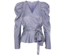 Palermo Gathered Silk-jacquard Wrap Blouse Lilac