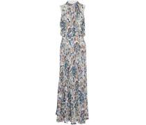 Cold-shoulder pleated floral-print crepe de chine maxi dress