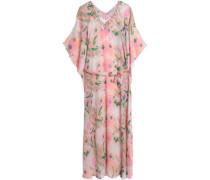 Embellished Printed Silk Kaftan Baby Pink  /M