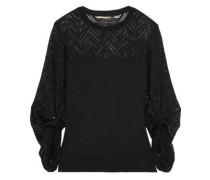 Levin Crochet Knit-paneled Stretch-knit Top Black