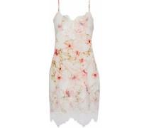 Lace-paneled floral-print crepe de chine mini dress