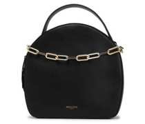 Chain-trimmed leather tote