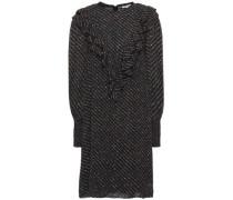 Woman Ruffle-trimmed Shirred Floral-print Georgette Mini Dress Black