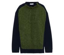 Woman Ruffle-trimmed Merino Wool-blend Bouclé Sweater Sage Green