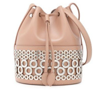Eyelet-embellished Leather Bucket Bag Blush Size --