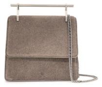 Metallic Cracked-leather Shoulder Bag Mushroom Size --