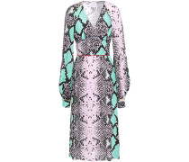 Gathered Snake-print Crepe Midi Dress