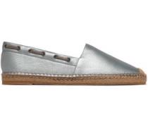 Bead-embellished Metallic Textured-leather Espadrilles Sky Blue
