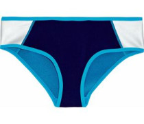 Metallic Color-block Neoprene Mid-rise Bikini Briefs Indigo