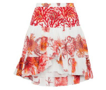 Embroidered Tulle-paneled Floral-print Cotton And Linen-blend Mini Skirt Coral