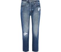 Pegged Cropped Distressed Boyfriend Jeans Mid Denim  5