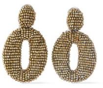 Silver-tone Beaded Hoop Clip Earrings Gold Size --