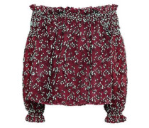 Off-the-shoulder Embroidered Cotton-blend Tulle Top Burgundy