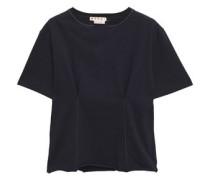 Woman Appliquéd Gathered Slub Cotton-jersey T-shirt Navy