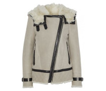Marsh leather-trimmed suede and shearling hooded jacket