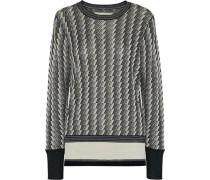 Bilijean Metallic Jacquard-knit Sweater Black