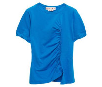 Woman Ruched Slub Cotton-jersey T-shirt Cobalt Blue