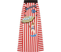Portofino embellished striped cotton-blend maxi skirt