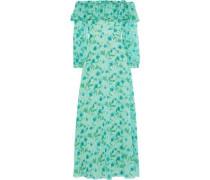 Off-the-shoulder Floral-print Fil Coupé Chiffon Maxi Dress Mint Size 12