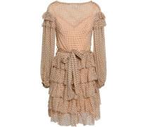 Ruffled Polka-dot Silk-georgette Mini Dress Peach Size 0
