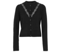 Sylvie lace-trimmed bead-embellished merino wool cardigan