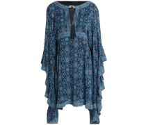 Draped printed silk crepe de chine mini dress
