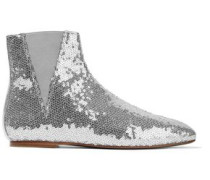 Sequined Metallic Leather Ankle Boots Silver
