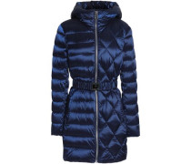 Belted quilted shell hooded coat