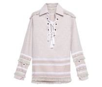 Two-tone fringe-trimmed embellished embroidered cotton top