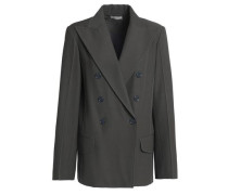 Double-breasted Twill Blazer Anthracite