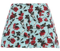 Woman Floral-jacquard Shorts Turquoise
