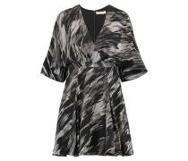 Wrap-effect printed silk crepe de chine mini dress