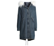 Reversible shearling-trimmed denim and quilted shell hooded parka