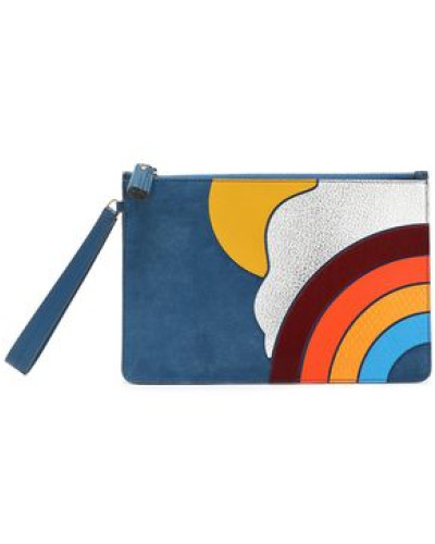 Anya Hindmarch Damen Suede, smooth and snake-effect leather pouch