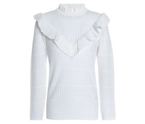 Ruffled pointelle-knit sweater