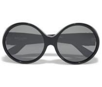 Round-frame Logo-embellished Acetate Sunglasses Black Size --