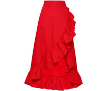 Wrap-effect Ruffle-trimmed Cotton-poplin Midi Skirt Red