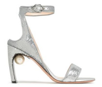 Faux Pearl-embellished Sequined Sandals Silver