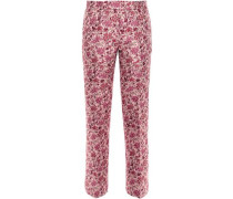 Floral-jacquard Straight-leg Pants Pastel Pink