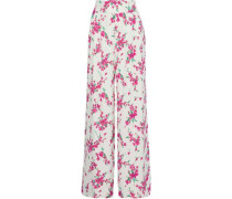 Steph Pleated Floral-print Crepe Wide-leg Pants White