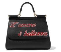 Sicily Appliquéd Textured-leather Shoulder Bag Black Size --