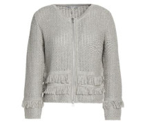 Fringe-trimmed Ribbed-knit Cotton Sweater Gray