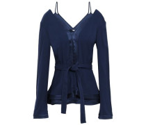 Cutout Belted Satin-crepe Peplum Blouse Navy