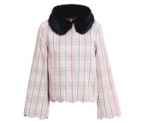 Bruna Faux Fur-trimmed Checked Cotton-gabardine Jacket Pastel Pink