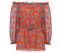Off-the-shoulder Printed Silk-georgette Top Orange Size 0