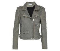Washed-leather Biker Jacket Gray