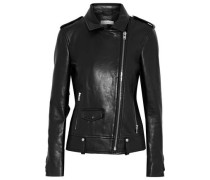 Dumont Ruffle-trimmed Leather Biker Jacket Black
